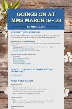 Goings On at MMS March 19 - 23