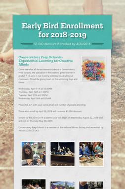 Early Bird Enrollment for 2018-2019