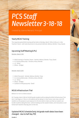 PCS Staff Newsletter 3-18-18