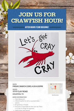 Join us for Crawfish Hour!