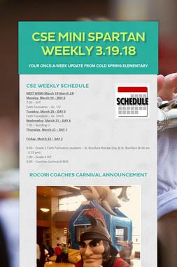 CSE Mini Spartan Weekly 3.19.18