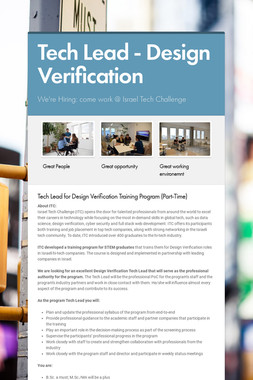 Tech Lead - Design Verification