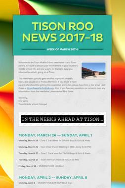 Tison Roo News 2017-18