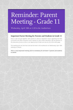 Reminder: Parent Meeting - Grade 11