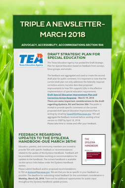 Triple A Newsletter-March 2018