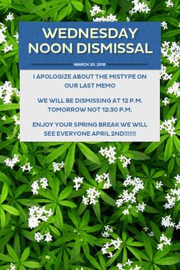 Wednesday Noon Dismissal