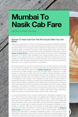 Mumbai To Nasik Cab Fare