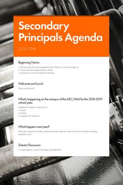 Secondary Principals Agenda
