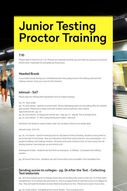 Junior Testing Proctor Training