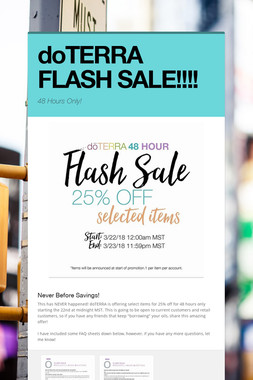 doTERRA FLASH SALE!!!!