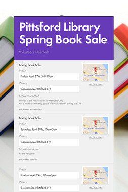 Pittsford Library Spring Book Sale