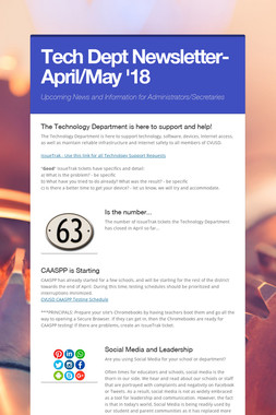 Tech Dept Newsletter-April/May '18
