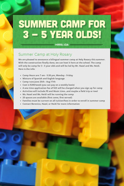 Summer Camp for 3 - 5 Year Olds!