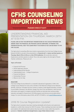 CFHS Counseling IMPORTANT NEWS
