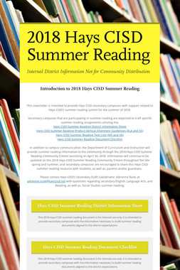 2018 Hays CISD Summer Reading