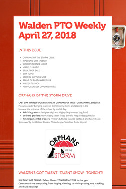 Walden PTO Weekly  April 27, 2018