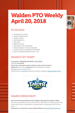 Walden PTO Weekly  April 20, 2018