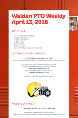 Walden PTO Weekly April 13, 2018