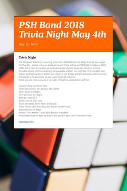PSH Band 2018 Trivia Night May 4th