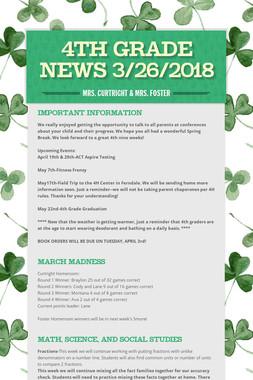 4th Grade News 3/26/2018