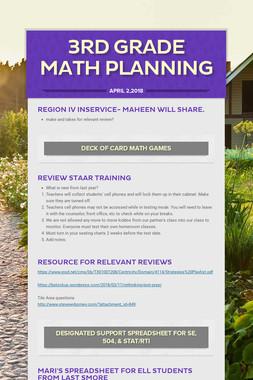 3rd Grade Math Planning