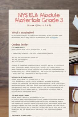 NYS ELA Module Materials Grade 3