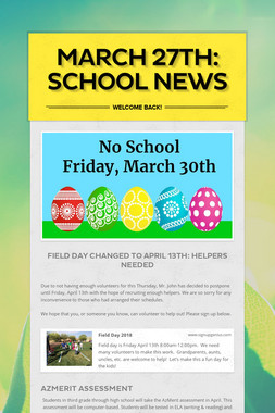 March 27th: School News