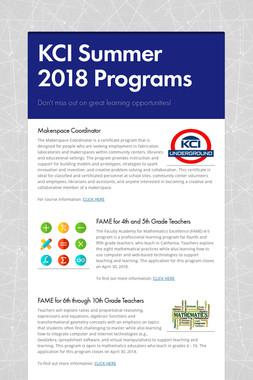 KCI Summer 2018 Programs