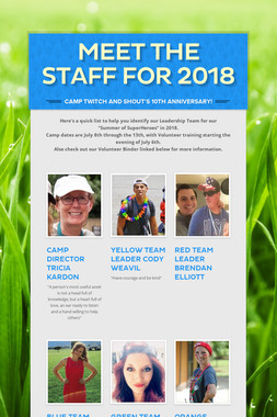 MEET THE STAFF FOR 2018