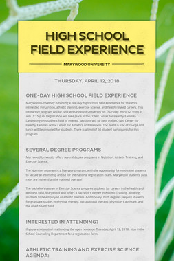 High School Field Experience