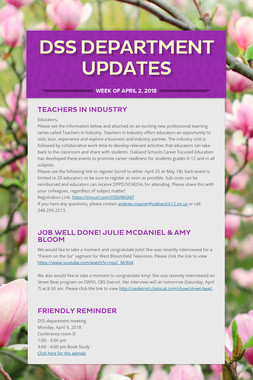 DSS Department Updates