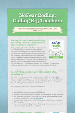 NoFear Coding: Calling K-5 Teachers