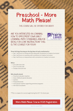 Preschool - More Math Please!