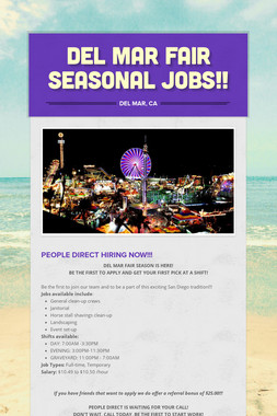 DEL MAR FAIR SEASONAL JOBS!!