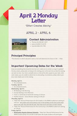 April 2 Monday Letter