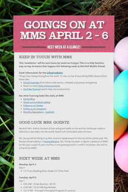 Goings On at MMS April 2 - 6