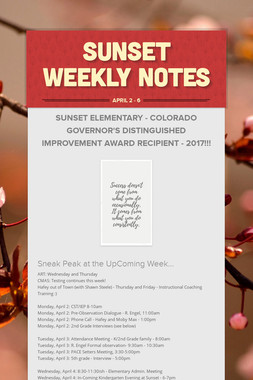 Sunset Weekly Notes