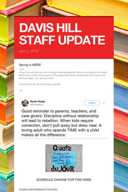 DAVIS HILL STAFF UPDATE
