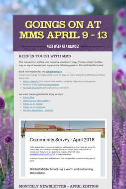 Goings On at MMS April 9 - 13