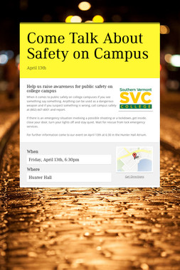 Come Talk About Safety on Campus