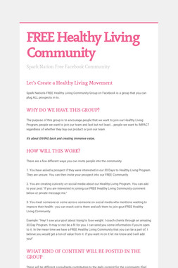 FREE Healthy Living Community