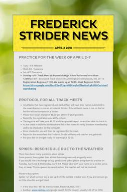 Frederick Strider News