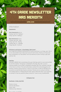 4th Grade Newsletter Mrs Meridith