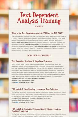 Text Dependent Analysis Training