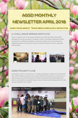 AGSD Monthly Newsletter April 2018
