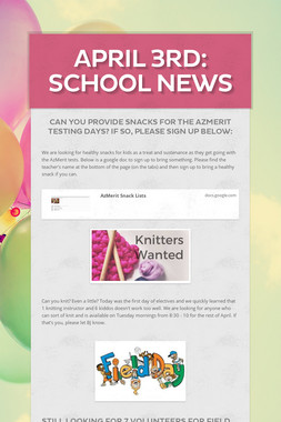 April 3rd: School News
