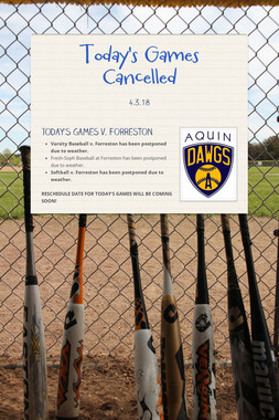 Today's Games Cancelled