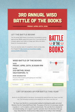 3rd Annual WISD Battle of the Books