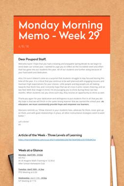 Monday Morning Memo - Week 29