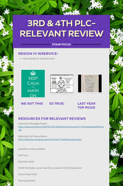 3rd & 4th  PLC-Relevant Review